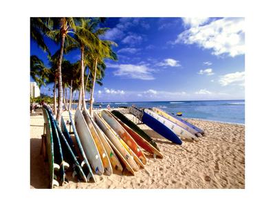 Waikiki Surfboards, Honolulu, Oahu, Hawaii Photographic Print by George Oze