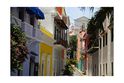 Colorful Street, Old San Juan, Puerto Rico Photographic Print
