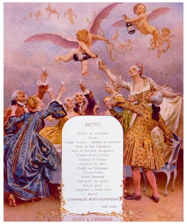 Menu Moet et Chandon Giclee Print by Maurice Leloir