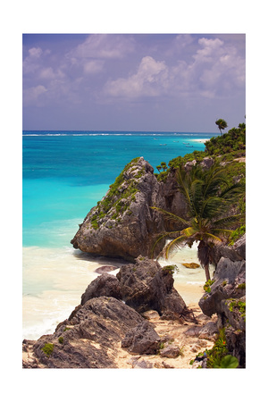 Rocky Cove, Tulum Beach, Yucatan, Mexico Photographic Print by George Oze