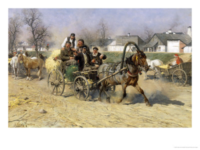 Russian Peasants Leaving a Horse Fair Giclee Print by Alfred von Kowalski-Wierusz