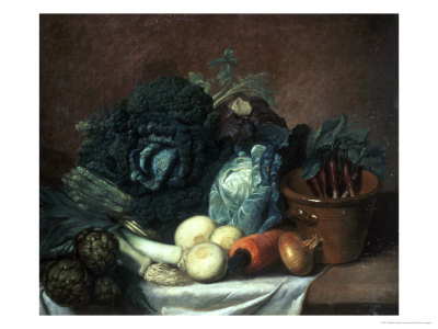 Still Life with Artichokes, Asparagus and Cabbage Giclee Print by Gabriel Germain Joncherie