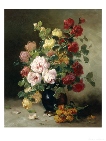 Still Life of Roses and Wallflowers Giclee Print by Eugene Henri Cauchois