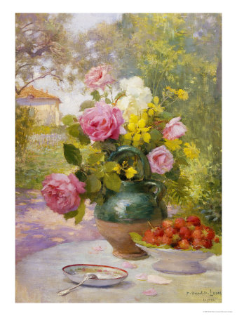 Still Life of Summer Flowers and Fruit Giclee Print by Marie Felix Lucas