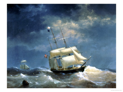 Sailing Ship at Sea Giclee Print by Egidius Linnig