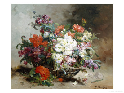 Summer Flowers Arranged in a Basket Giclee Print by Eugene Henri Cauchois