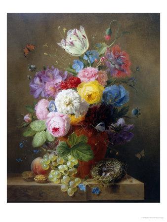 Rich Still Life of Roses, Poppies, Azaleas and Tulips Lámina giclée
