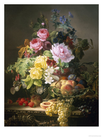 Still Life of Roses, Lilies and Strawberries Giclee Print by Francois Duval