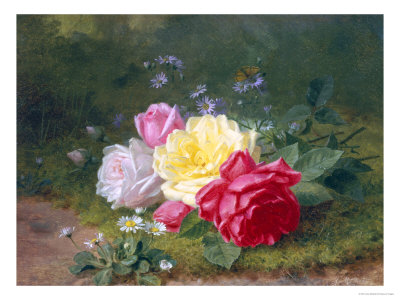 Daisies and Roses Giclee Print by Jules Medard
