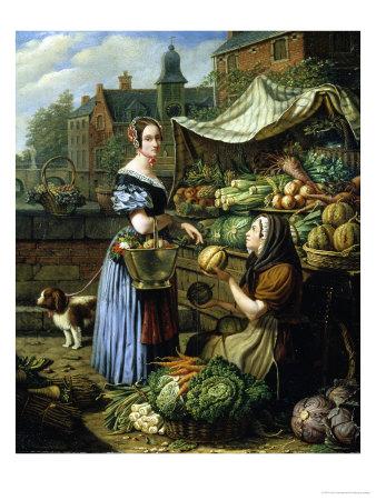 Market Stall in Bruges Giclee Print by Henri Voordecker
