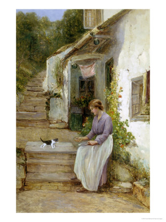 Playing with the Kitten Giclee Print by Ernest Walbourn