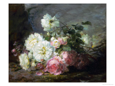 Pink and White Roses Giclee Print by Andre Perrachon