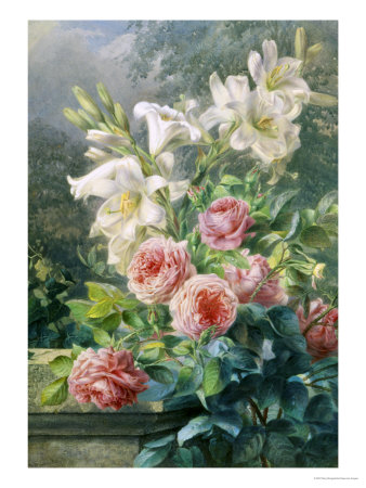 Still Life of Lilies and Roses Giclee Print by Mary Margetts