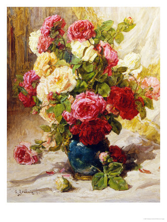 Still Life of Roses in a Vase Giclee-trykk