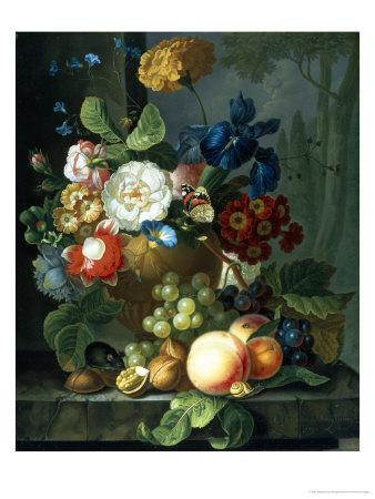 Still Life of Flowers in a Terracotta Vase Giclee Print by Elizabeth Van Hoogenhuyzen
