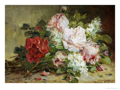 Bouquet of Roses and Lilac Giclee Print by Dominique-Hubert Rozier