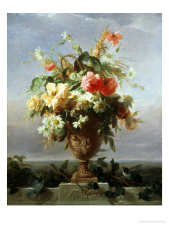 Elegant Vase of Flowers on a Ledge Giclee Print by Edouard Muller Rosenmuller
