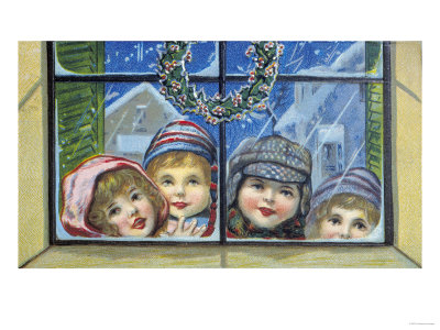 Glowing Christmas Faces Giclee Print