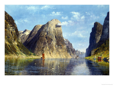 Calm Day on the Fjord, Norway Giclee Print by Adelsteen Normann
