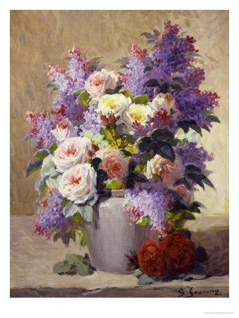 Still Life of Roses and Lilacs Giclee-trykk
