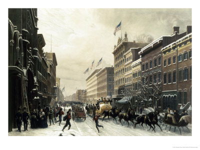 New York, Winter Scene in Broadway, c.1857 Giclee Print by Hippolyte Victor Valentin Sebron