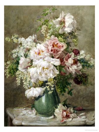 Still Life of Peonies and Roses Giclee-vedos