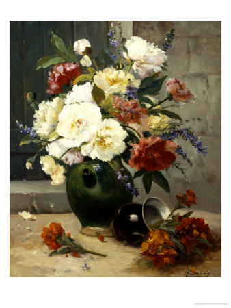 Still Life of Peonies and Wallflowers Giclee Print by Eugene Henri Cauchois