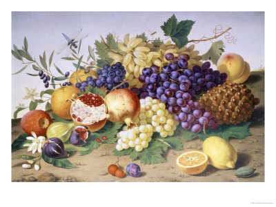 Still Life of Grapes, Pineapple, Figs and Pomegranates Giclee Print by Adolf Senff