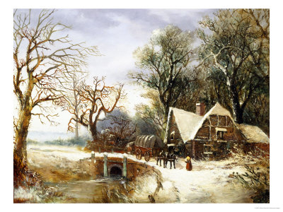 Meeting on the Bridge, Winter Giclee Print by William Stone