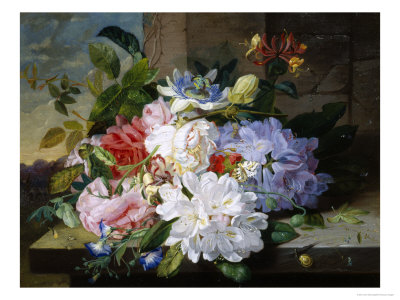 Pretty Still Life of Roses, Rhododendron and Passionflower Giclee Print by John Wainwright