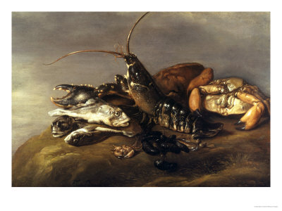 Still Life with Lobster, Crabs, Mussels and Fish Gicle-tryk