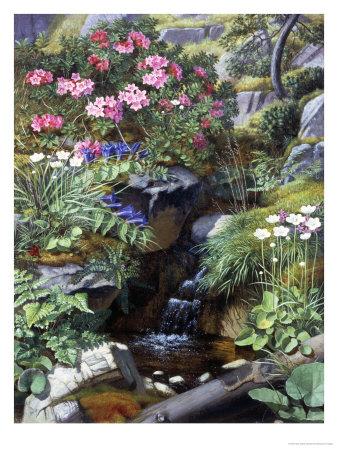 Alpine Flowers by a Stream Giclee Print by Otto Didrik Ottesen