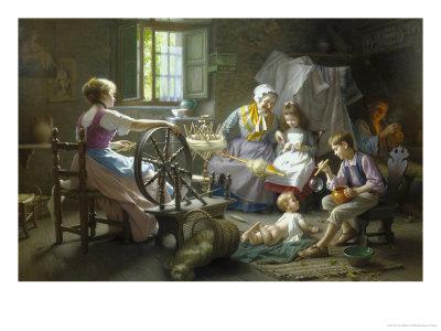 The Spinning Wheel Giclee Print by Giovanni Battista Torriglia