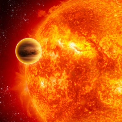Gas-Giant Exoplanet Transiting Across the Face of Its Star Photographie