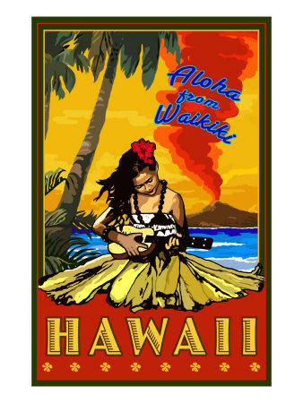 Aloha from Waikiki, Hawaii Art Print