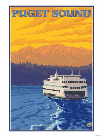 Ferry and Mountains, Puget Sound, Washington Prints by  Lantern Press