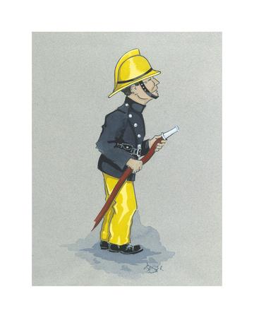 The Fireman Premium Giclee Print by Simon Dyer