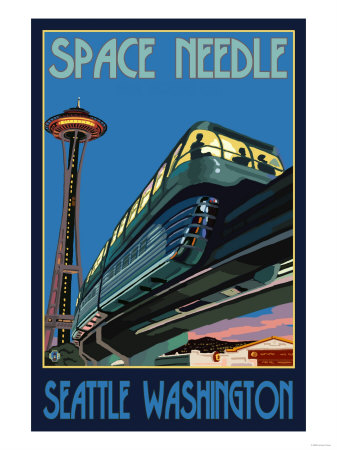 Space Needle and Monorail, Seattle, Washington Art Print