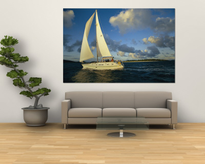 Sailboat Cruising off the Coast of the British Virgin Islands Reproduction murale géante
