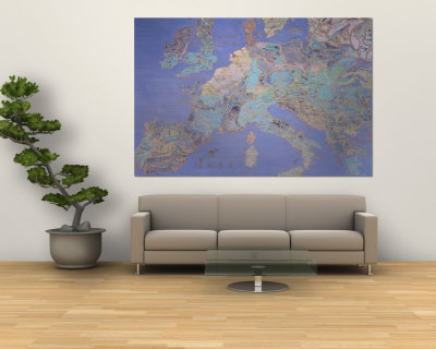 Map of Sixteenth Century Europe, from the Sala Del Mappamondo circa 1574-5 Wall Mural by Giovanni De' Vecchi