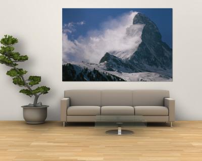 Snow Blows off of the Matterhorn Above Zermatt Wall Mural by Gordon Wiltsie