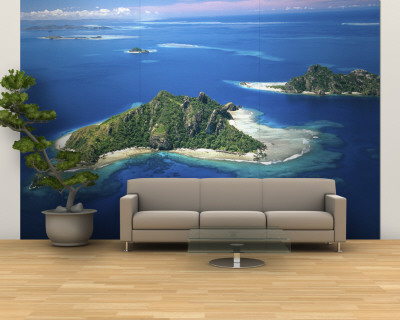Aerial of Maolo Island, Mamanuca Islands, Fiji Wall Mural – Large by David Wall