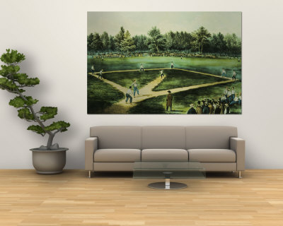 The American National Game of Baseball Wall Mural by  Currier & Ives
