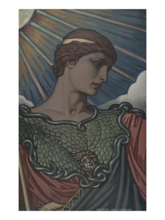Head of Minerva, Study for the Jefferson Building, Library of Congress, c.1898 Kunstdrucke von Elihu Vedder