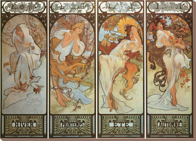 Les Saisons Stretched Canvas Print by Alphonse Mucha