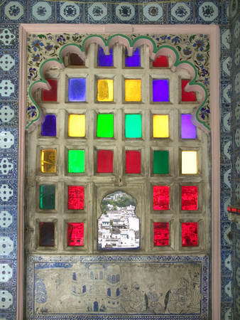 Stained Glasses in City Palace, Udaipur, Rajasthan, India Photographic Print