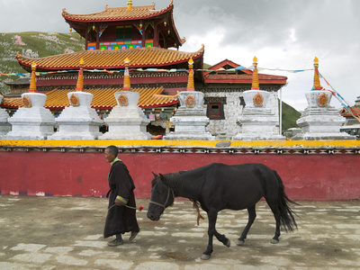 Tibetan Man with Horse in Tagong Monastery, Sichuan, China Photographic Print