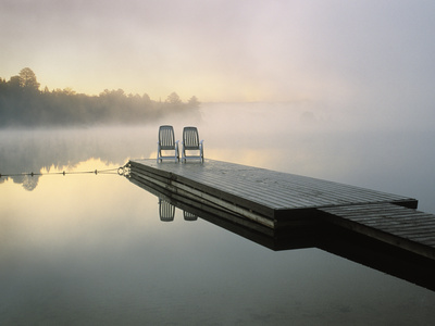 Chairs on Dock, Algonquin Provincial Park, Ontario, Canada Photographic Print by Nancy Rotenberg