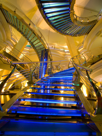 Interior Stairs and Ceiling of Modern Public Spa, Escaldes-Engordany Parish, Andorra Photographic Print by Jim Zuckerman