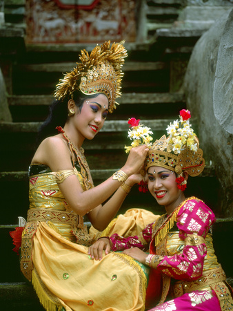 Balinese Dancers in Front of Temple in Ubud, Bali, Indonesia Photographic Print by Jim Zuckerman